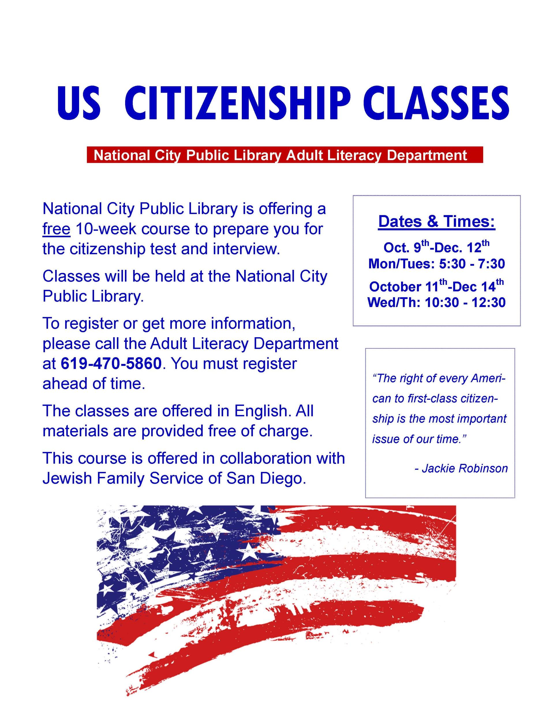 Citizenship Class Flyer JFS Oct Dec
