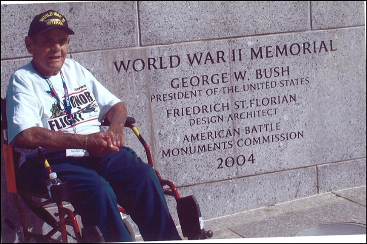 Peter Salcedo in front of the WWII Memorial