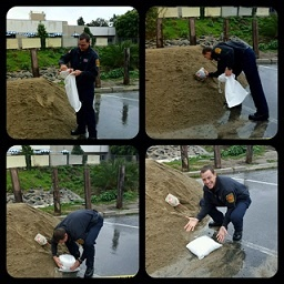 shovel to sandbag