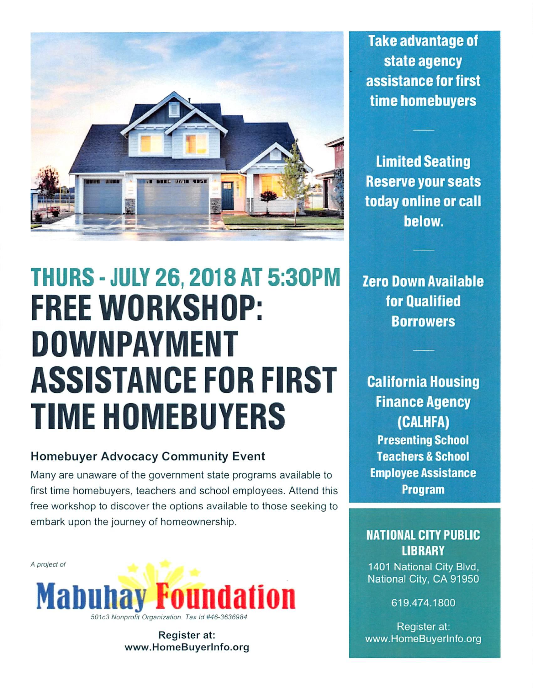 Homebuyer Workshop Down Payment Assistance Free Calendar List National City Ca