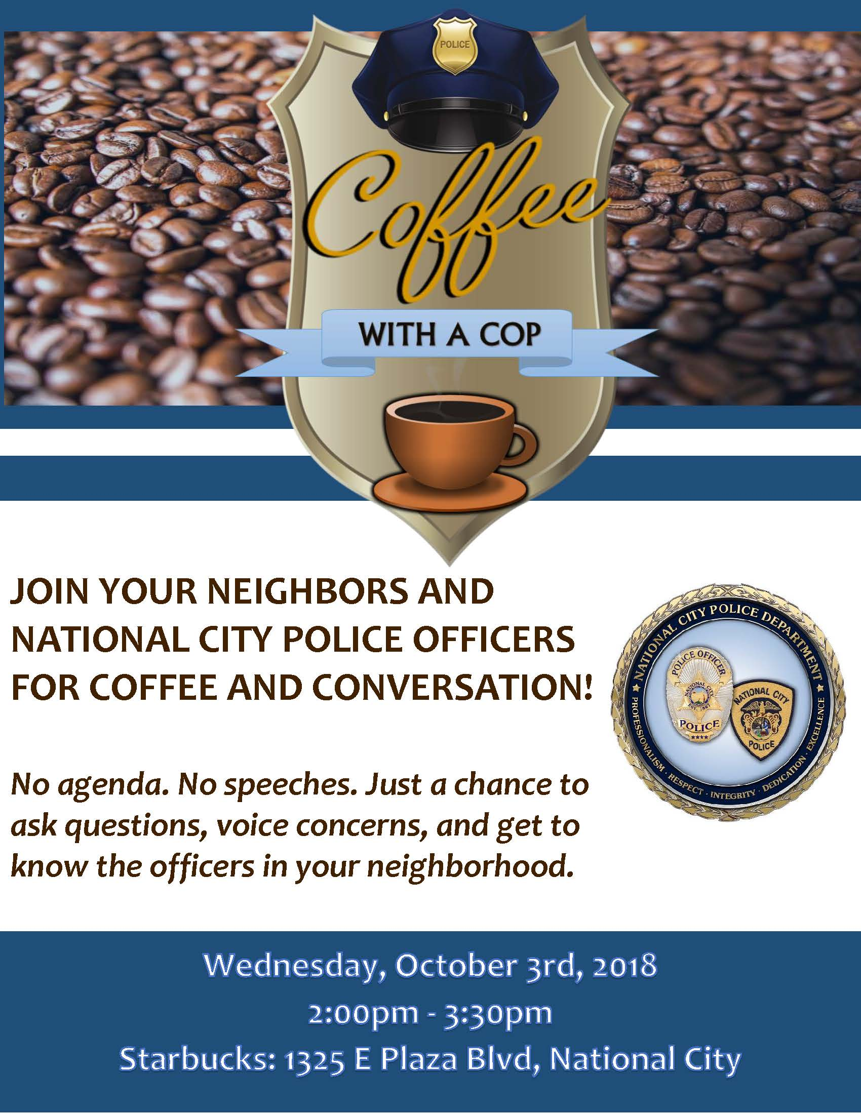 Cofee With A Cop- October 2018- E Plaza Blvd