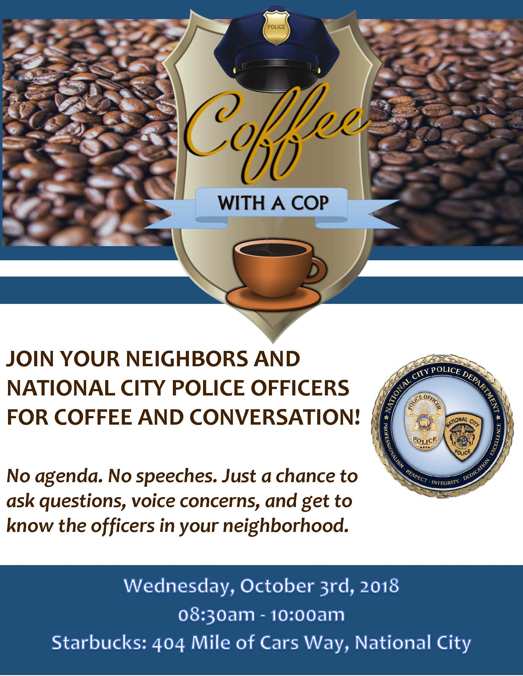 Cofee With A Cop- October 2018 Mile of Cars Way