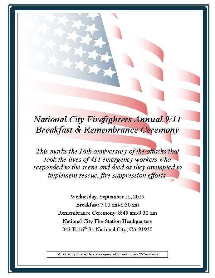 9/11 Remembrance Ceremony | Event Calendar | National City, CA