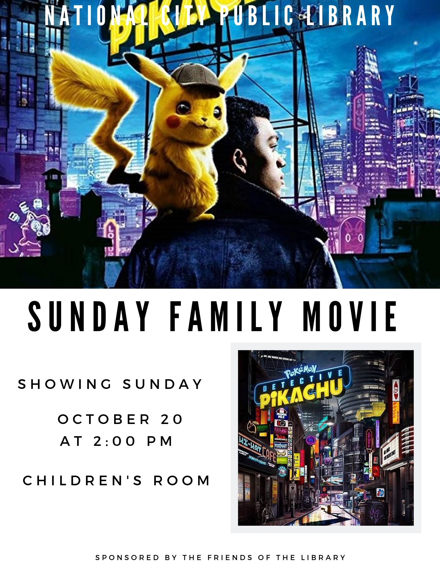 Family Movie Oct 20 - Detective Pikachu